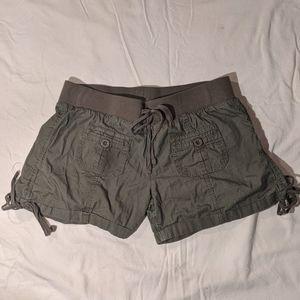 Green jean shorts